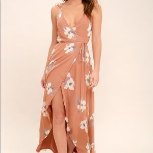 All Mine Rusty Rose Floral High-Low Wrap Dress
